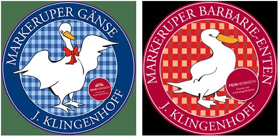 Logo Markeruper Gänse und Barbarie-Enten von J. Klingenhoff